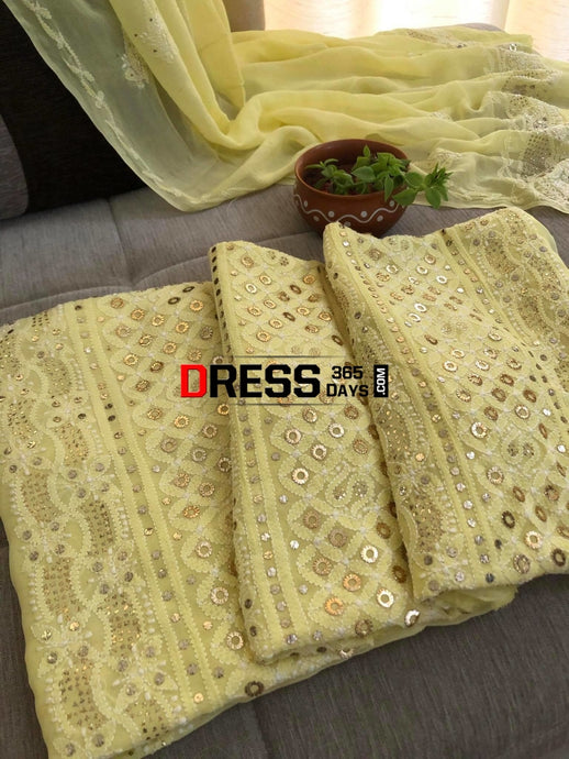 Lemon Yellow Ring Mukaish Chikankari Suit Suits