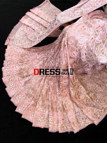 Light Peach Gota Patti Chikankari Saree