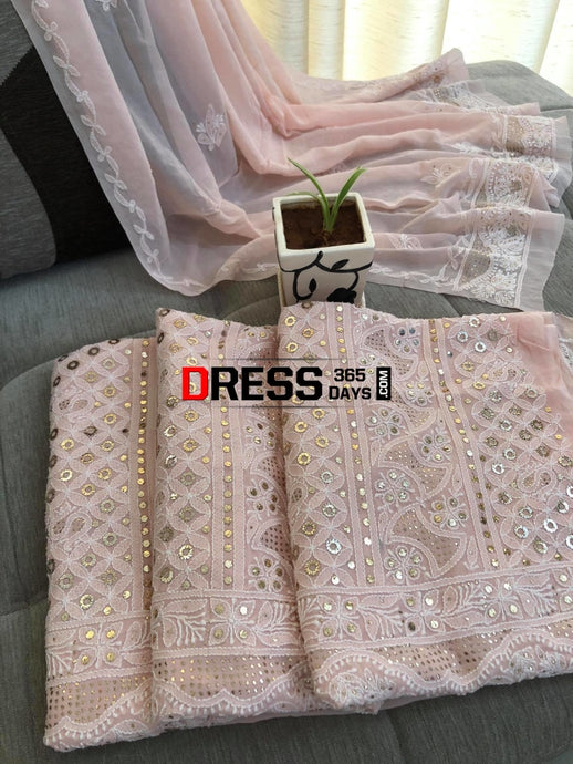 Light Peach Lucknowi Kamdani Suit Chikankari Suits