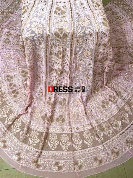 Light Pink Gota Patti Chikankari Lehenga Skirt