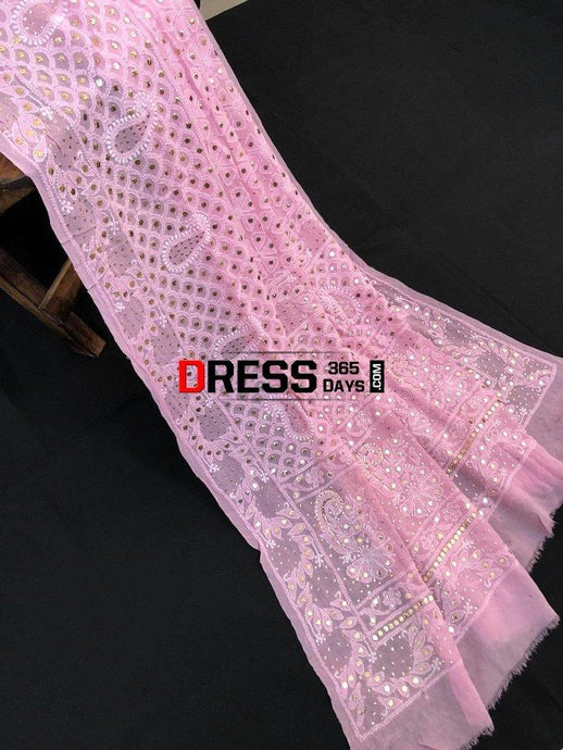 Light Pink Hand Embroidered Mukaish Chikankari Dupatta