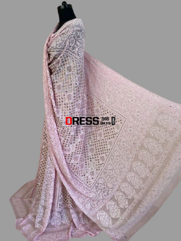 Light Pink Lucknowi Chikankari Ring Mukaish Lehenga Set