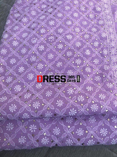Lilac Hand Embroidered Chikankari Suit Suits