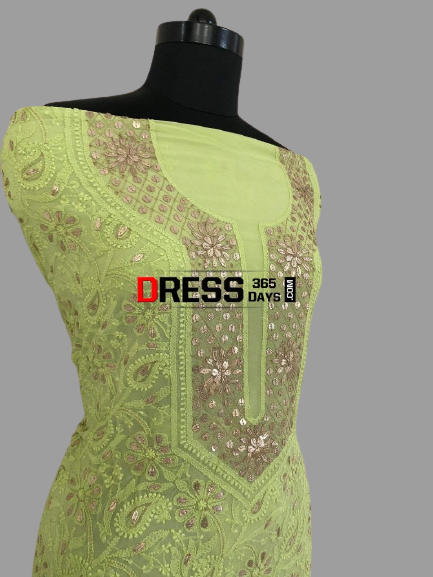 Lime Green Georgette Gota Patti Chikankari Suit