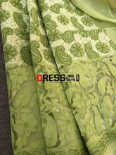Load image into Gallery viewer, Lime Green Net Daaman Cotton Chikankari Kurti Fabric