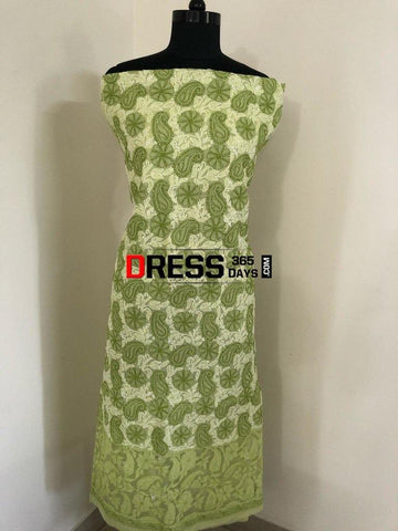 Lime Green Net Daaman Cotton Chikankari Kurti Fabric