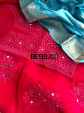 Load image into Gallery viewer, Magenta And Ferozi Organza Beads Chikankari Suit Suits