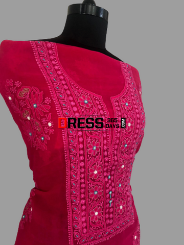 Magenta Organza Beads Chikankari Suit Suits