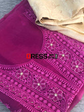 Load image into Gallery viewer, Magenta Organza Beads Chikankari Suit With Heavy Banarasi Dupatta Suits