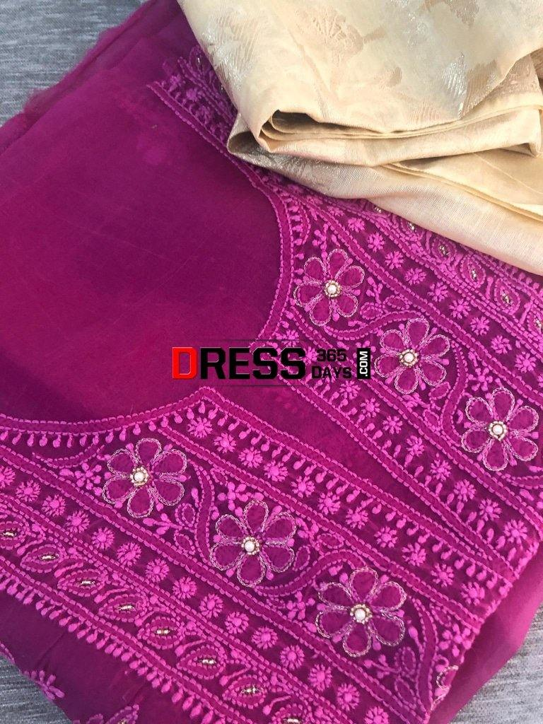 Magenta Organza Beads Chikankari Suit With Heavy Banarasi Dupatta Suits