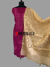 Load image into Gallery viewer, Magenta Organza Beads Chikankari Suit with Heavy Banarasi Dupatta