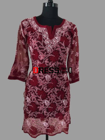 Maroon Front And Back Embroidered Chikankari Kurti