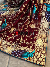 Load image into Gallery viewer, Maroon Hand Embroidered Parsi Gara Dupatta