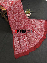Load image into Gallery viewer, Maroon Lucknowi Chikankari Dupatta Suits