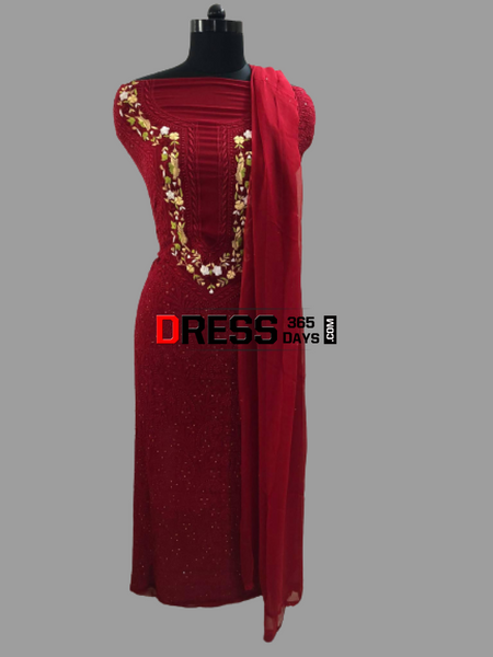 Maroonish Red Parsi Gara Chikankari Suit Suits