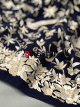 Load image into Gallery viewer, Masterpiece Navy Hand Embroidered Parsi Gara Saree (Crepe)