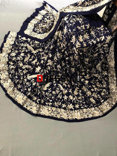 Masterpiece Navy Hand Embroidered Parsi Gara Saree (Crepe)