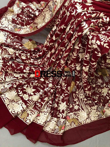 Masterpiece Red- Ivory Parsi Gara Saree