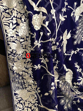 Load image into Gallery viewer, Masterpiece Royal Blue And Ivory Parsi Gara Dupatta