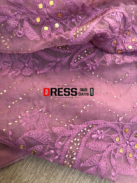 Mauve Mukaish Chikankari Suit - Organza Suits