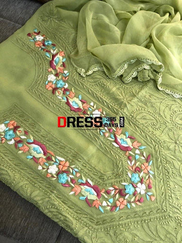 Mehndi Green Parsi Gara Chikankari Suit Suits