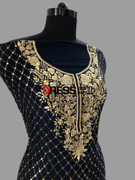 Midnight Blue And Gold Kamdani Parsi Gara Suit Suits