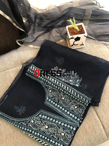 Midnight Blue Beads & Chikankari Suit Suits