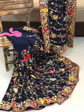 Load image into Gallery viewer, Midnight Blue Multicolour Parsi Gara Saree