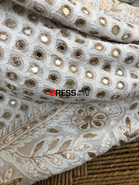 Mirror And Gota Patti Lucknowi Chikankari Lehenga Set