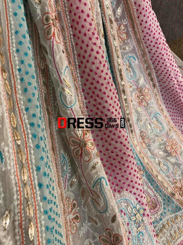 Multicolour Chikankari And Gota Patti Work Anarkali Suit