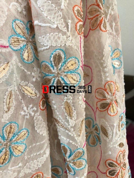 Multicolour Chikankari Dupatta With Gota Patti