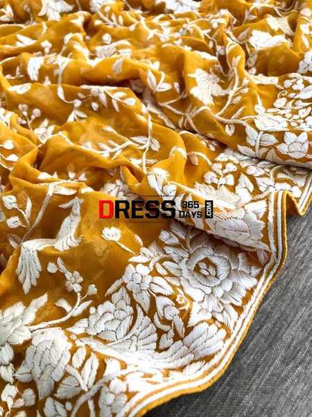 Mustard Yellow & Ivory Hand Embroidered Parsi Gara Dupatta