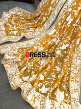 Load image into Gallery viewer, Mustard Yellow & Ivory Hand Embroidered Parsi Gara Dupatta