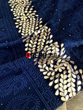 Load image into Gallery viewer, Navy Hand Embroidered Gota Patti Chikankari Suit Suits