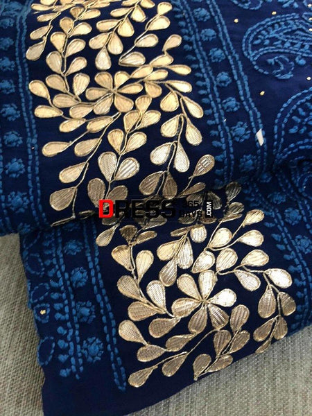 Navy Hand Embroidered Gota Patti Chikankari Suit Suits