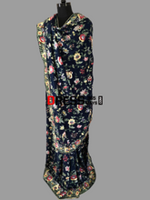 Load image into Gallery viewer, Navy Hand Embroidered Pure Crepe Parsi Gara Saree