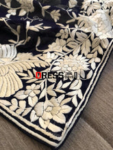 Load image into Gallery viewer, Navy & Ivory Hand Embroidered Parsi Gara Dupatta