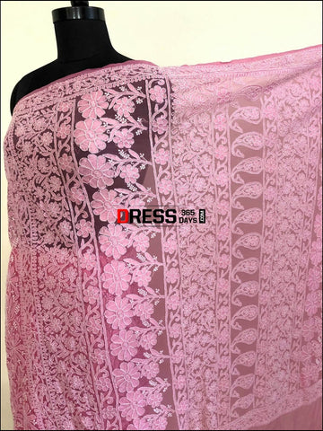 Net Fabric Lucknow Chikankari Saree Saree