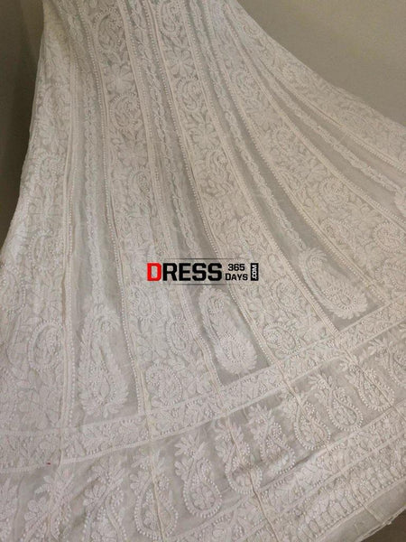 Off White Pure Georgette Anarkali Chikankari