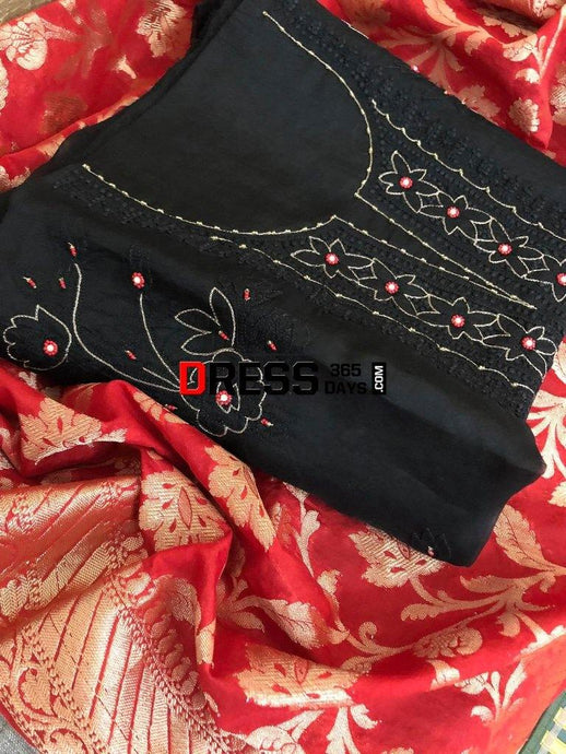 Organza Beads And Chikankari Suit With Heavy Banarasi Dupatta Suits