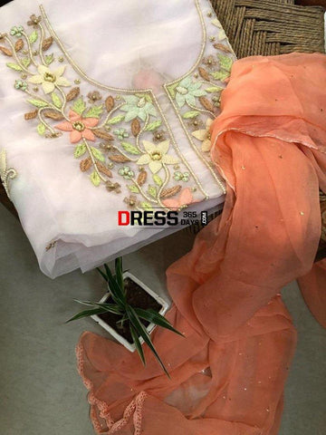Organza Beads And Pari Gara Suit Chikankari Suits