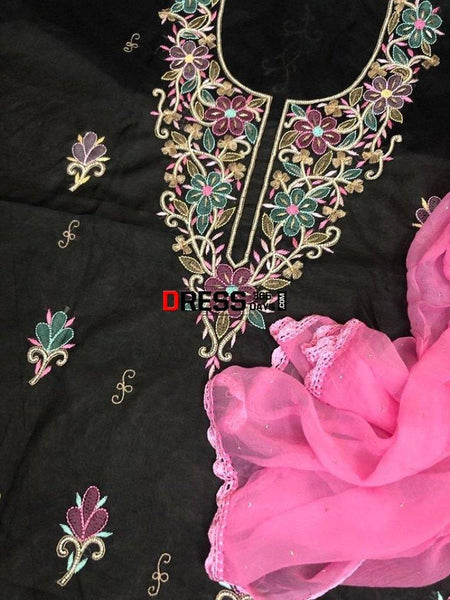 Organza Beads And Parsi Gara Suit Chikankari Suits