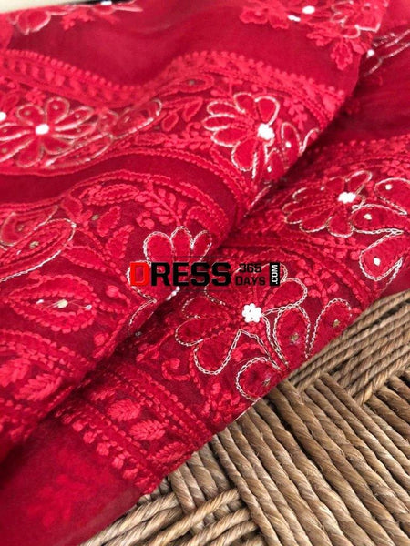 Organza Chikankari Beads And Aari Zari Suit Suits