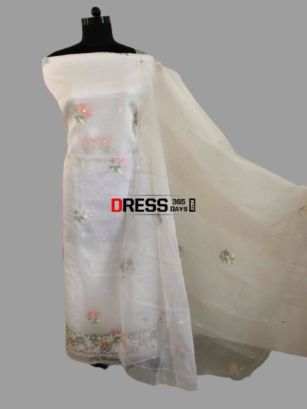 Organza Chikankari Suit with Beads Work (Kurta and Dupatta)
