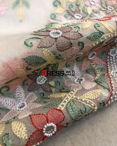 Organza Chikankari Suit With Beads Work (Kurta And Dupatta) Suits