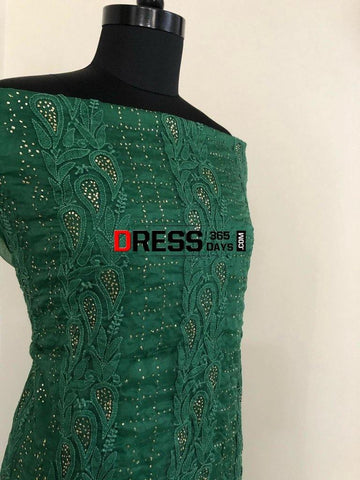 Organza Chikankari Suit With Mukaish Work Suits