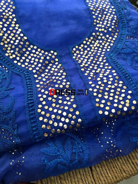 Organza Mukaish Chikankari Suit Suits
