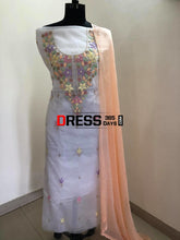 Load image into Gallery viewer, Organza White Multicolour Chikankari Suit With Beads Suits