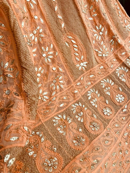 Viscose Georgette Chikankari Anarkali Suit with Gota Patti (Anarkali and Dupatta)