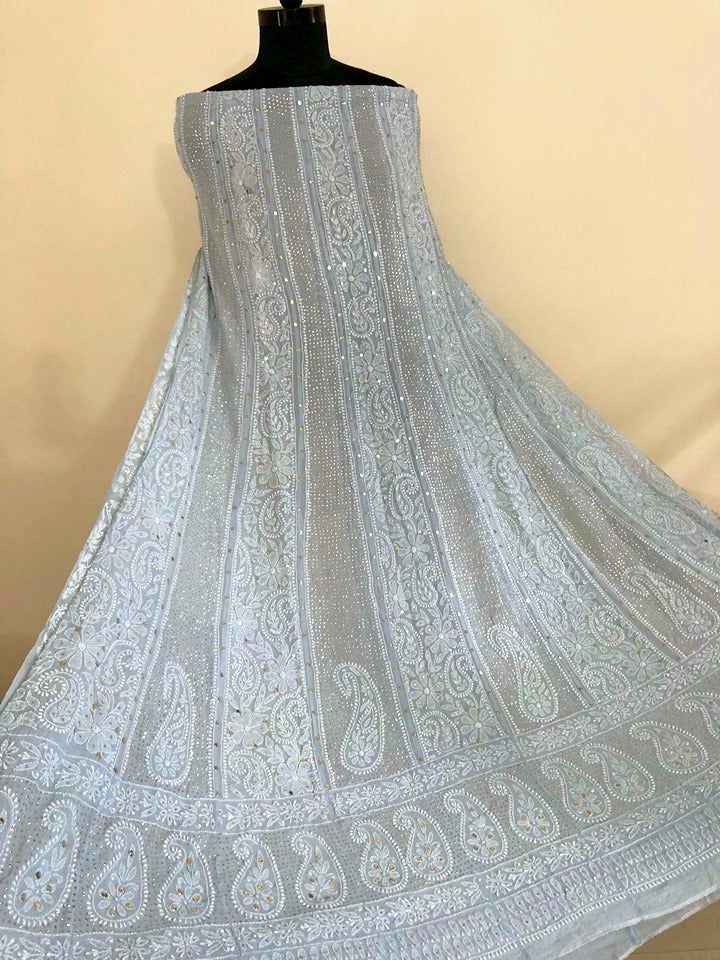 Powder Blue Mukaish Chikankari Anarkali Suit (Only Anarkali)